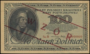 100 marek polskich 15.02.1919, obustronny nadruk WZÓR, ...