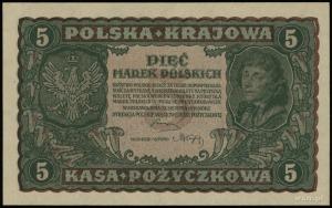 5 marek polskich 23.08.1919, seria II-BJ, numeracja 079...