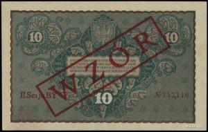10 marek polskich 23.08.1919, ukośny czerwony nadruk WZ...