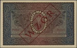 5.000 marek polskich 7.02.1920, czerwony ukośny nadruk ...