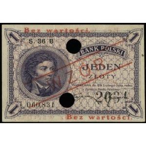 1 złoty 29.02.1919, seria 36 B, numeracja 060831, po ob...