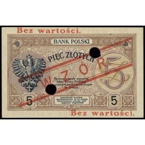 """5 złotych 28.02.1919, czerwony ukośny nadruk """"WZÓR"""", dw..."""