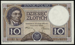 10 złotych 28.02.1919, klauzula w 9 liniach, seria 1.A,...