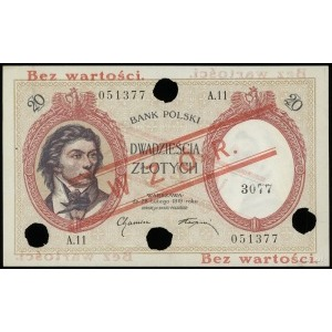 20 złotych 28.02.1919, seria A.11, numeracja 051377, ob...