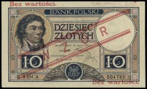 10 złotych 15.07.1924, WZÓR, II emisja, seria A, numera...