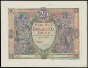 próbny druk rysunku strony głównej banknotu 20 złotych ...
