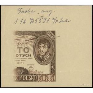 próba kolorystyczna strony głównej banknotu 100 złotych...