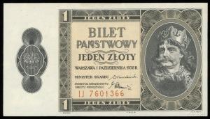 1 złoty 1.10.1938, seria IJ, numeracja 7601366, Lucow 7...