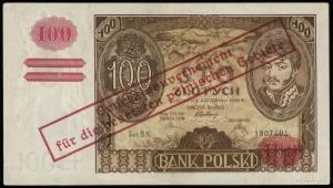 100 złotych 1939, nadruk na banknocie 100 złotych 9.11....
