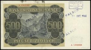 500 złotych 1.03.1940, seria A, numeracja 1302088, fałs...