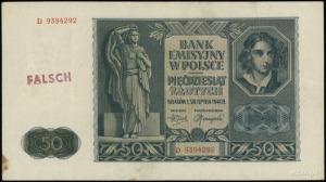 50 złotych 1.08.1941, seria D, numeracja 9394292, po ob...