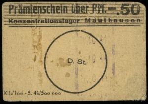 Konzentrationslager Mauthausen, Prämienschein (bon) na ...