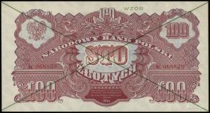100 złotych 1944,  w klauzuli OBOWIĄZKOWYM, zielony poz...