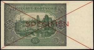 """500 złotych 15.01.1946, czerwony poziomy nadruk """"SPECIM..."""