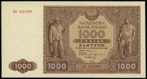 1.000 złotych 15.01.1946, seria AA, numeracja 7231856, ...