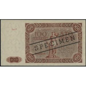 100 złotych 15.07.1947, seria F, numeracja 0000000, cza...