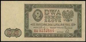 2 złote 1.07.1948, znak wodny z plecionką jasną w ciemn...