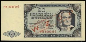 """20 złotych 1.07.1948, czerwony ukośny nadruk """"WZÓR"""", se..."""