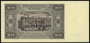 """20 złotych 1.07.1948, perforacja """"WZÓR"""", seria KD, nume..."""