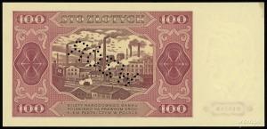 """100 złotych 1.07.1948, perforacja """"WZÓR"""", seria KH, num..."""