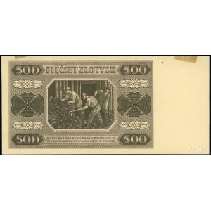 próba kolorystyczna banknotu 500 złotych 1.07.1948, bez...