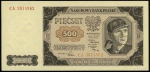 500 złotych 1.07.1948, seria CA, numeracja 3074962, Luc...