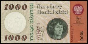 1.000 złotych 29.10.1965, perforacja WZÓR, seria G, num...