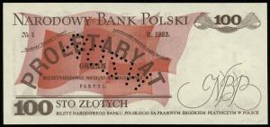 """100 złotych 15.01.1975, ukośna perforacja """"WZÓR"""", seria..."""
