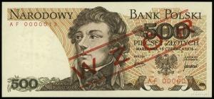"""500 złotych 15.06.1975, czerwone ukośne """"WZÓR"""" / """"SPECI..."""