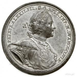 Piotr I, odbitka w cynie medalu sygnowanego TI (T. Ivan...