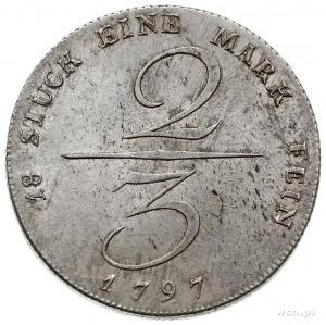 Fryderyk Wilhelm II 1786-1797, 2/3 talara na stopę lips...