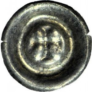 R,- Jędrzejów, Opactwo Cysterskie XIVw, Brakteat, krzyż grecki
