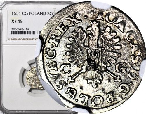 R-, Jan Kazimierz, Dwugrosz 1651, Bydgoszcz, piękny