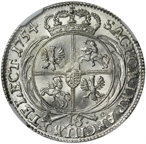 August III Sas, Ort 1754, Lipsk, piękny