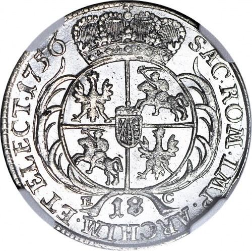 August III Sas, Ort 1756, menniczy