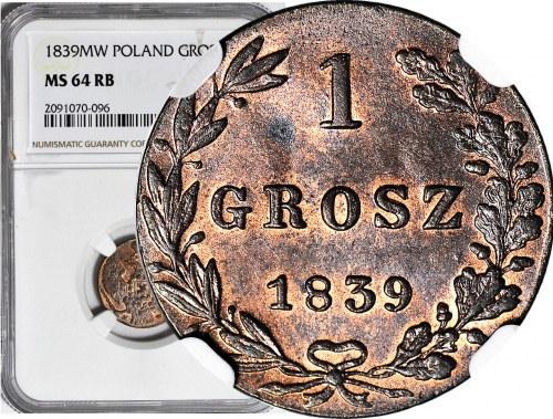 Królestwo Polskie, 1 grosz 1839 MW, menniczy