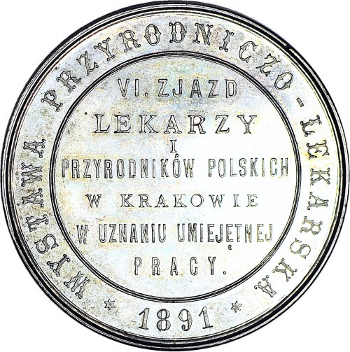 RR-, VI zjazd lekarzy i przyrodników w Krakowie, Medal 1891, srebro