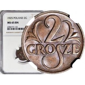 2 grosze 1925, mennicze, kolor BN