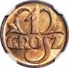 1 grosz 1933, menniczy, kolor RB