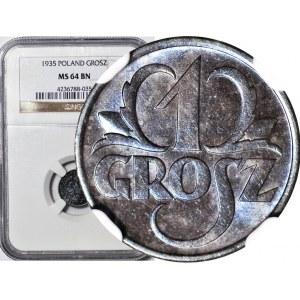 1 grosz 1935, menniczy, kolor BN