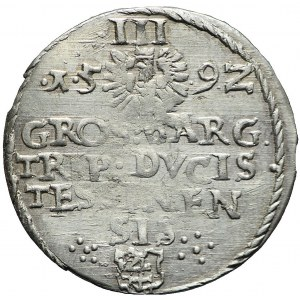 RR- Śląsk, Księstwo Cieszyńskie, Adam Wacław, Trojak 1592, Cieszyn, R6