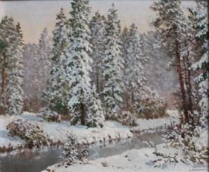 Konstanty Mackiewicz (1894-1985), Pejzaż zimowy z rzeką