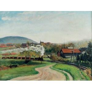 Irena WEISS - ANERI (1888-1981), Pejzaż z pociągiem
