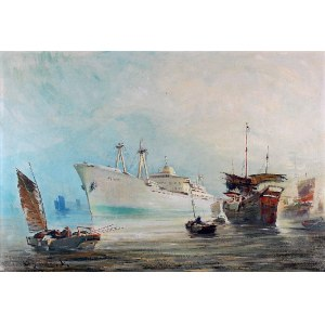 Henryk BARANOWSKI (1932-2005), Dziesięciotysięcznik m/s Pekin wchodzi do portu chińskiego, ok. 1965