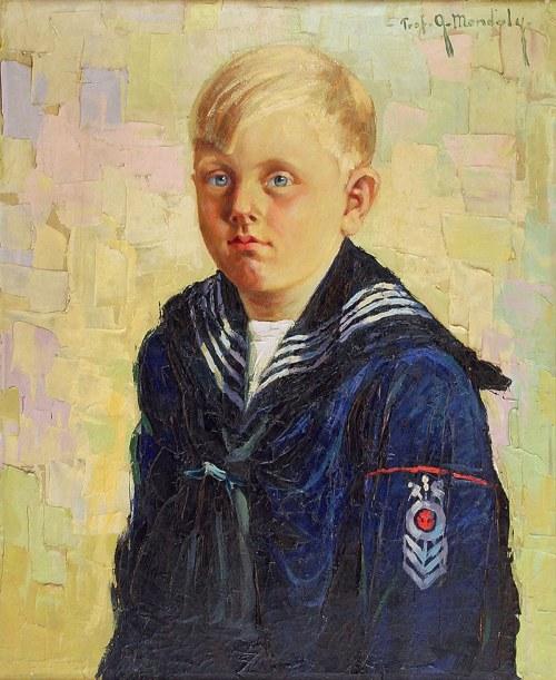 Grzegorz MENDOLY (?-1943), Chłopczyk w marynarskim ubranku - Portret Stefka B.