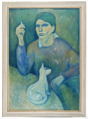 Roman ZAKRZEWSKI (1955-2014), Portret własny artysty z kotem, 1979