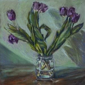 Piotr Pachecki, Fioletowe tulipany, 2018