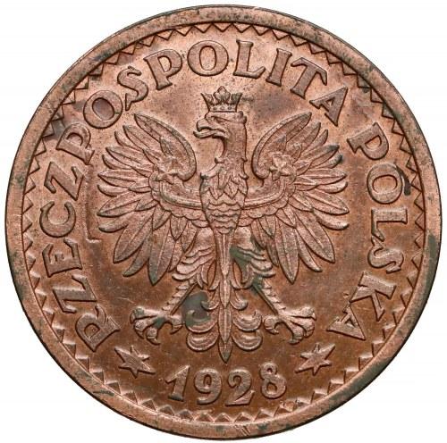 Próba MIEDŹ 1 złoty 1928 - wieniec liściasty - b. rzadka