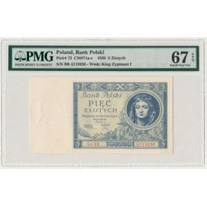 5 złotych 1930 - Ser.BB - PMG 67 EPQ