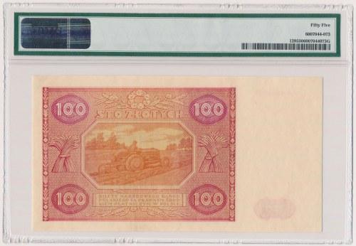 100 złotych 1946 - A - mała litera - PMG 55